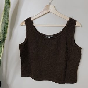 • ST. JOHN • brown knit cropped tank top